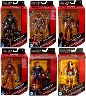 kit 6 bonecos articulados dc multiverse - liga da justiça