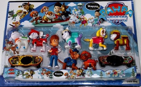 kit 6 bonecos brinquedo patrulha canina