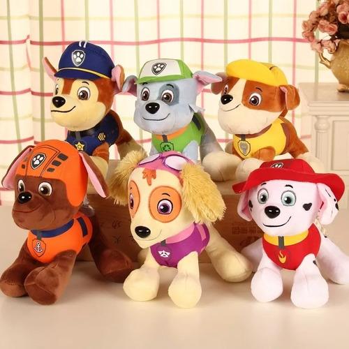 kit 6 bonecos pelúcia  patrulha canina  + brinde