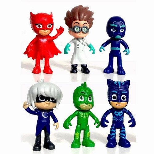 kit 6 bonecos pj masks  gratis dvd