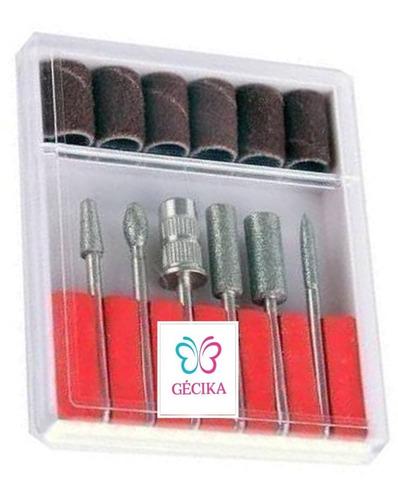 kit 6 brocas + 6 lixas para lixa elétrica de unhas