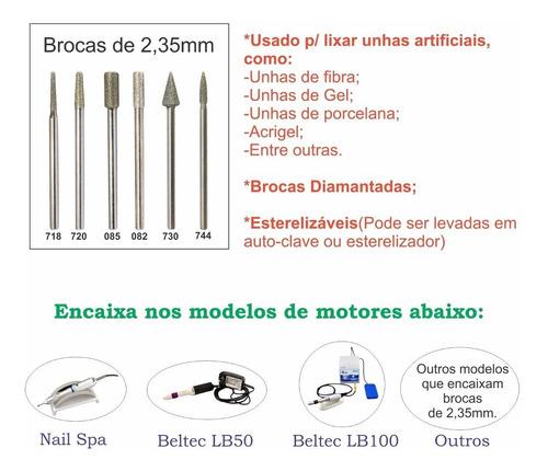 kit 6 brocas diamantadas fava p/ lixa elétrica unha de fibra