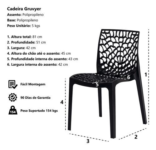 kit 6 cadeiras gruvyer empilhável inmetro várias cores