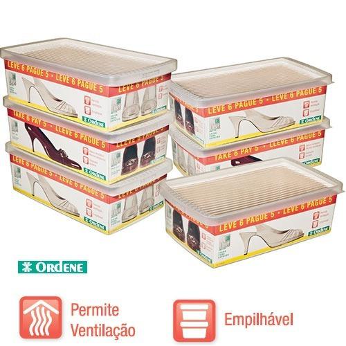kit 6 caixas organizadora sapato ou tênis ordene tamanho m