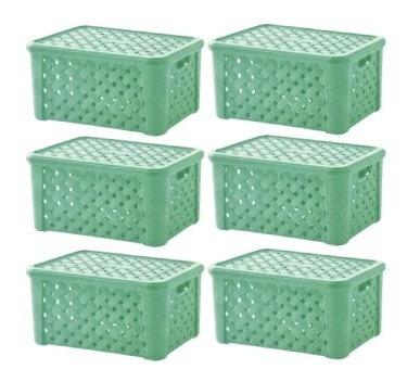 kit 6 caixas orgazanizadora c/ tampa rattan 24x17x12cm - 709