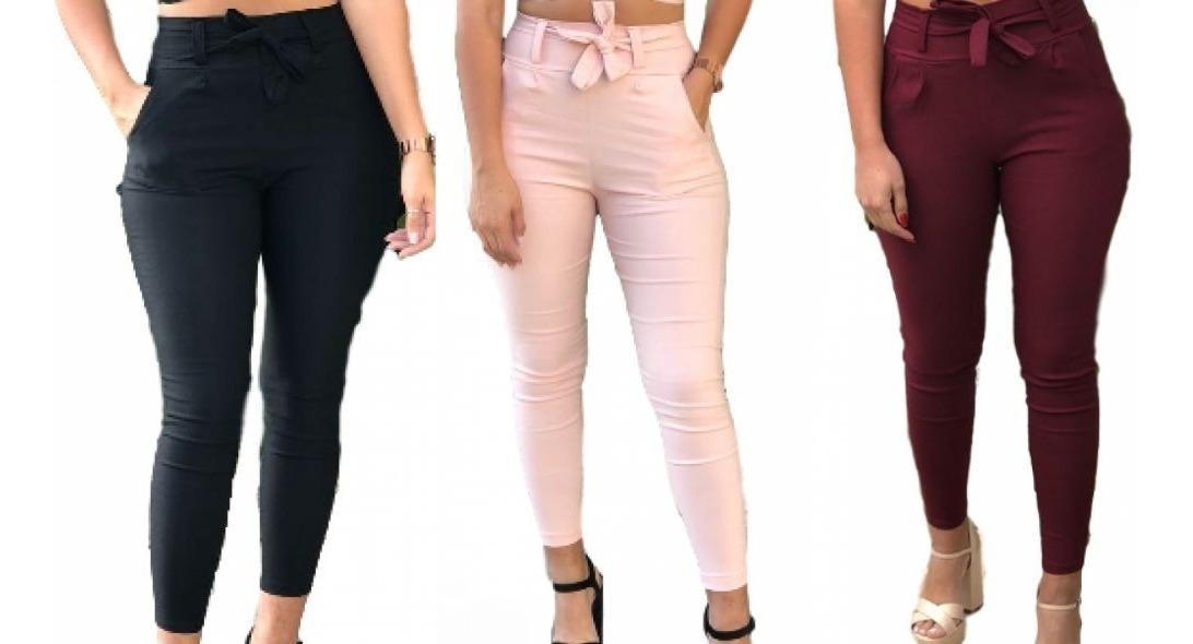 2ddd159e1e64 kit 6 calça bengaline social cintura alta skinny cint laço. Carregando zoom.