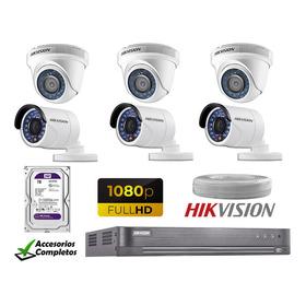 Kit 6 Camaras De Seguridad Full Hd Hikvision 2tb Wd Completo