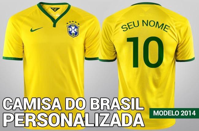 eabb16d67 Kit 6 Camisa Brasil Adu. 1 Infantil Personalizada Com Nome!! - R ...