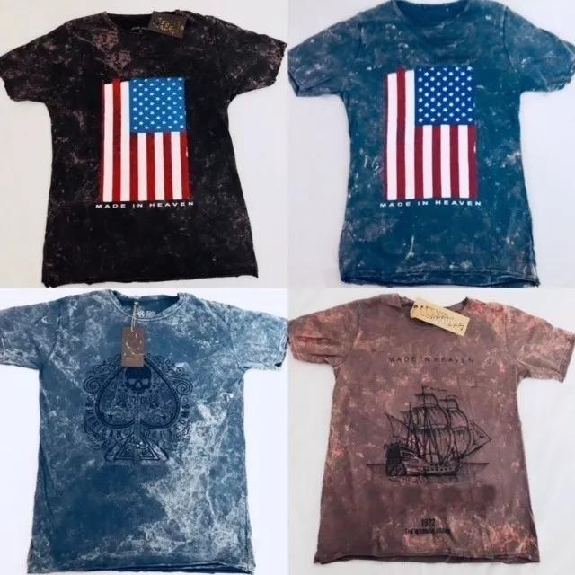 Kit 6 Camisas Camiseta Pré Lavadas Estonadas Masculina Top - R  119 ... 0fa7235f71dfc