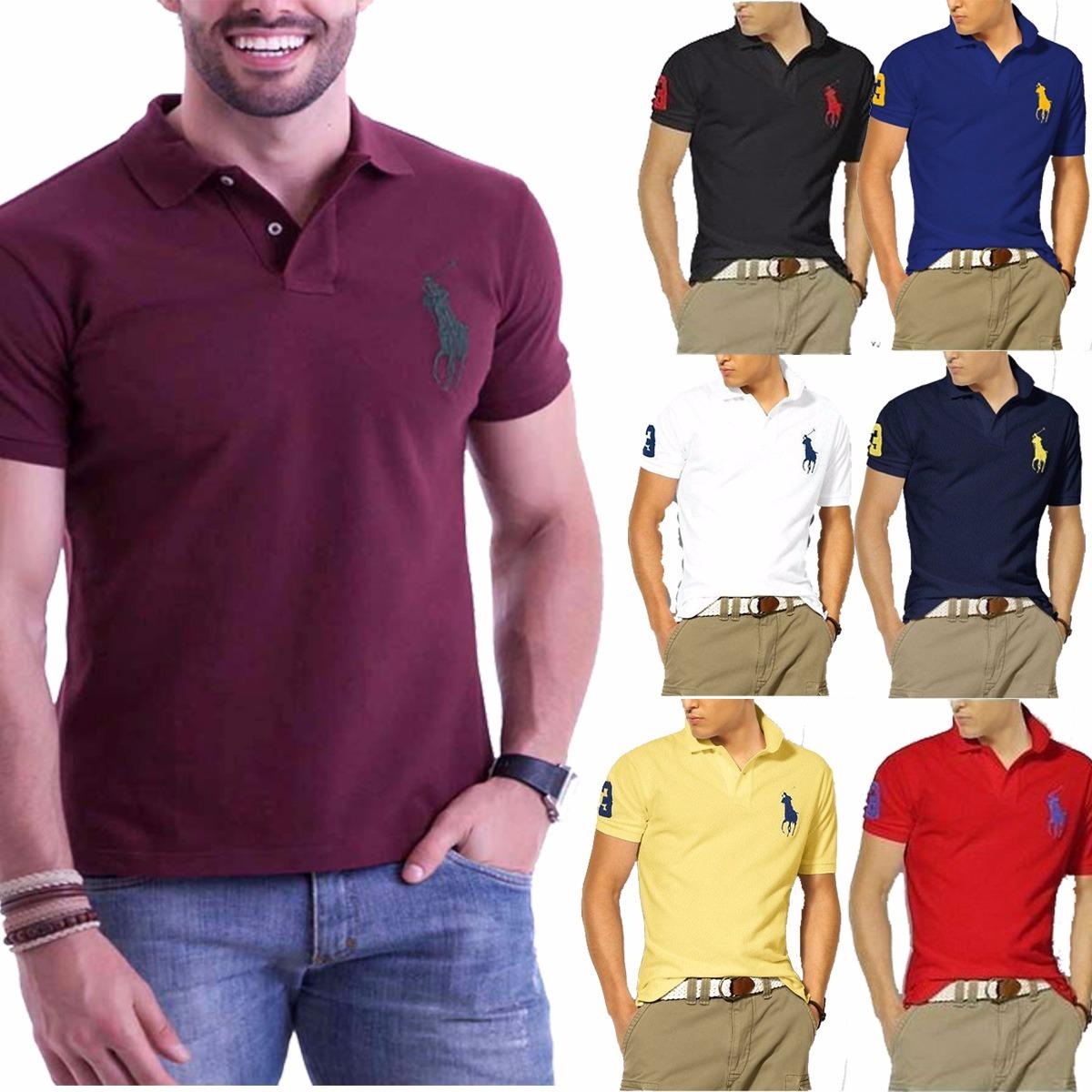 Kit 6 Camisas Camisetas Gola Polo Masculina Grandes Marcas - R  125 ... 23efea37c29d0
