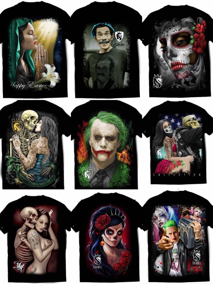 kit 6 camiseta coringa arlequina catrina caveira mexicana. Carregando zoom. b3be25713ef