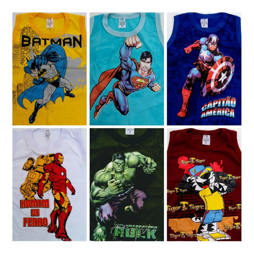 kit 6 camiseta infantil atacado herois e personagens