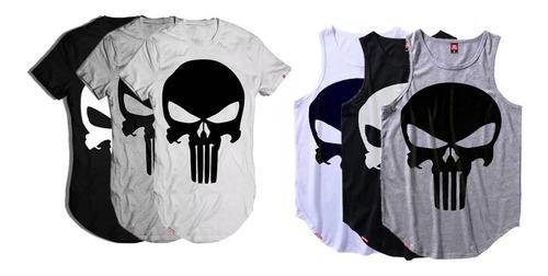 kit 6 camisetas longline justiceiro vcstilo
