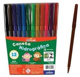 kit 6 caneta canetinha hidrocor 12 cores atacado escola