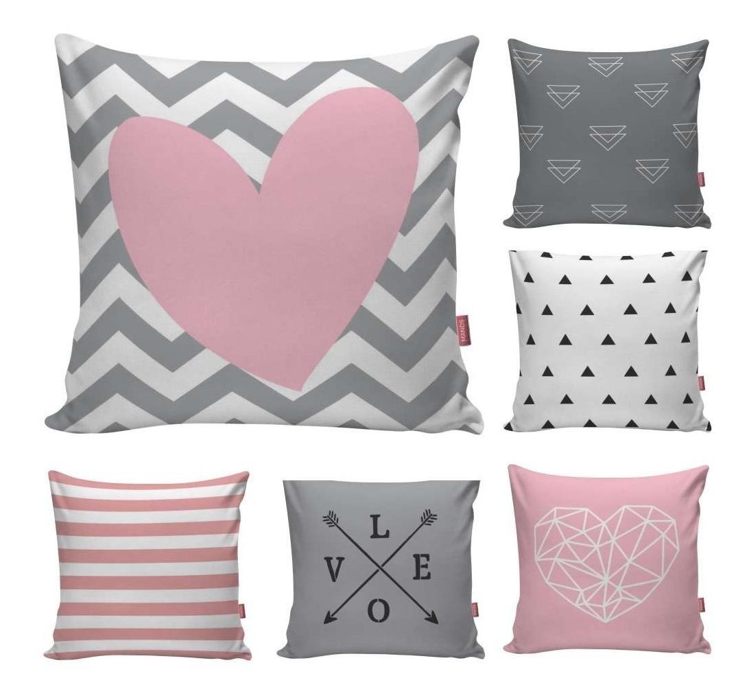 6dd3780685d687 Kit 6 Capa Almofada Decorativa Rosa Cinza Amor Love Coração
