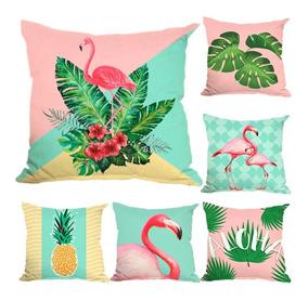88d644e361b71a Kit 6 Capa Almofada Tropical Flamingo Abacaxi