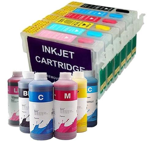 kit 6 cartucho recarregável r290 r270 chip full new + tinta