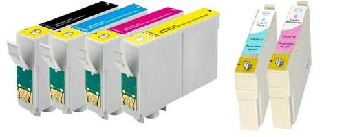 kit 6 cartuchos compatíveis epson r380 rx580 tx700w tx720wd