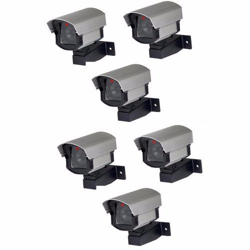 kit 6 câmeras vigilância falsas + 6 placas de aviso sorria
