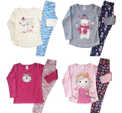 kit 6 conjuntos femininos roupas infantil menina atacado