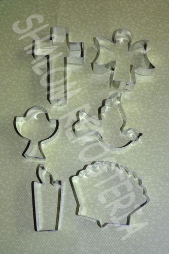 *kit 6 cortadores galletas comunion y bautizo fondant royal*