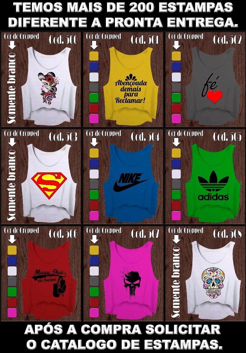 Kit 6 Cropped Camiseta Feminina Academia Fitness - R  66 625a427f191