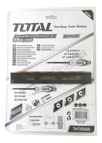 kit 6 destornilladores aislados total 1000v - tofema