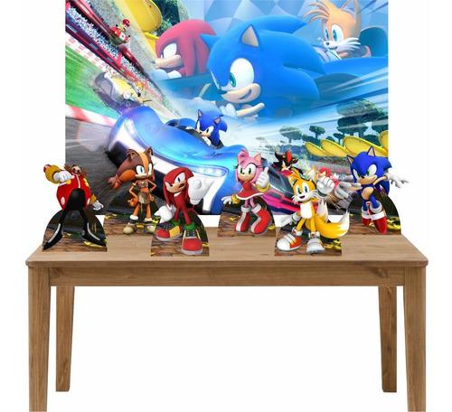 kit 6 displays de mesa decoração festa sonic painel 100x70
