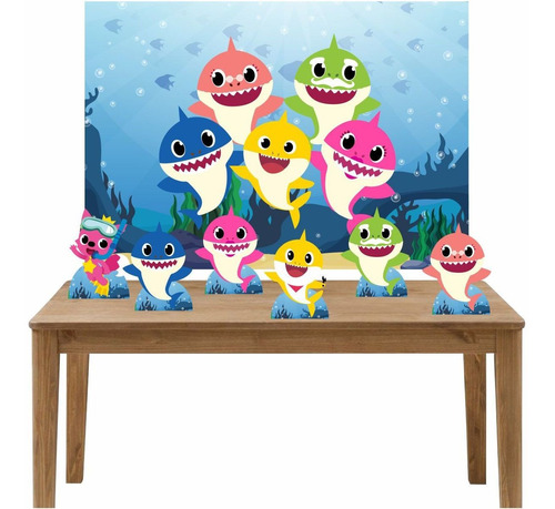 kit 6 displays de mesa e painel baby shark painel 100x70