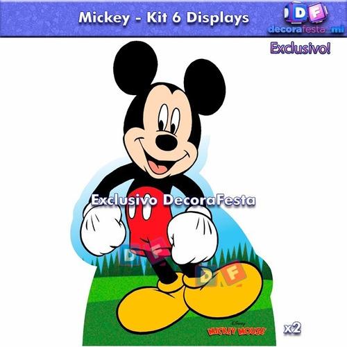 kit 6 displays mickey decoração festa