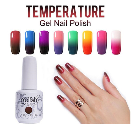 kit 6 esmaltes gelish termicos 21 dias color envio gratis