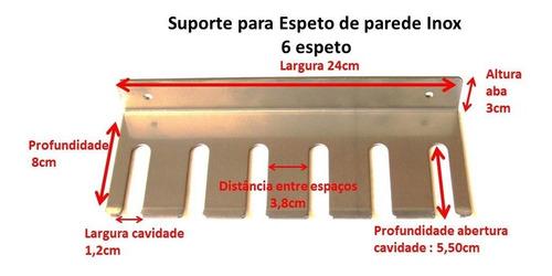 kit 6 espetos inox simples/duplo + porta espeto