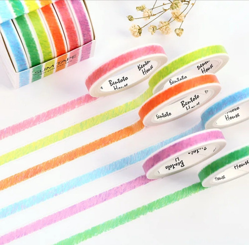 kit 6 fita adesiva decorativa washi tape scrapbook 7m cada