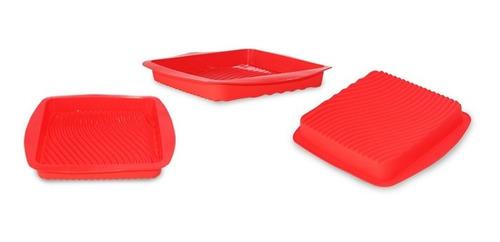 kit 6 formas baixa de silicone quadrada bolo pão torta