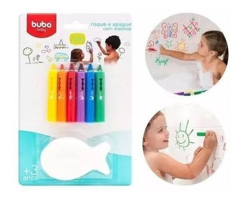 kit 6 lapis risque apague para banho azulejo crianca buba.