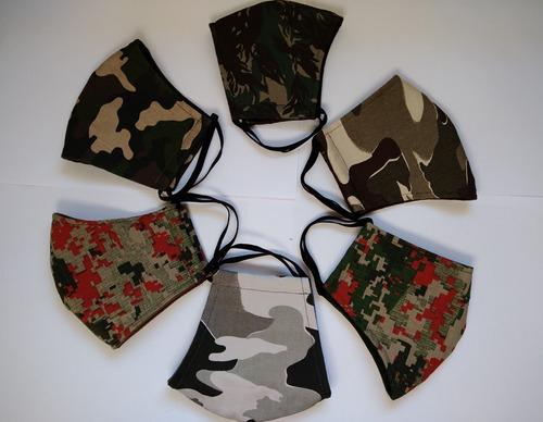 kit 6 máscaras tecido camufladas laváveis