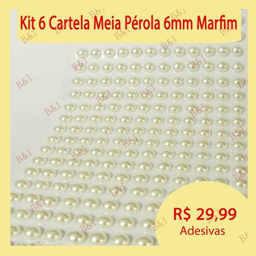 kit 6 meia pérola adesiva 6mm p/artesanato decoração