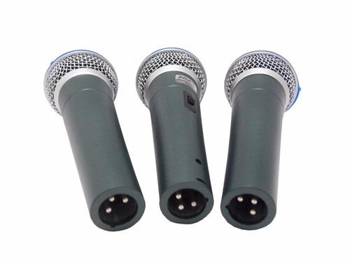 kit 6 microfones profissionais + cabos mxt shure sm57 sm58