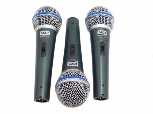 kit 6 microfones profissionais + cabos mxt sm57 sm58