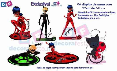 kit 6 miraculous ladybug + 6 moranguinho baby display 22cm