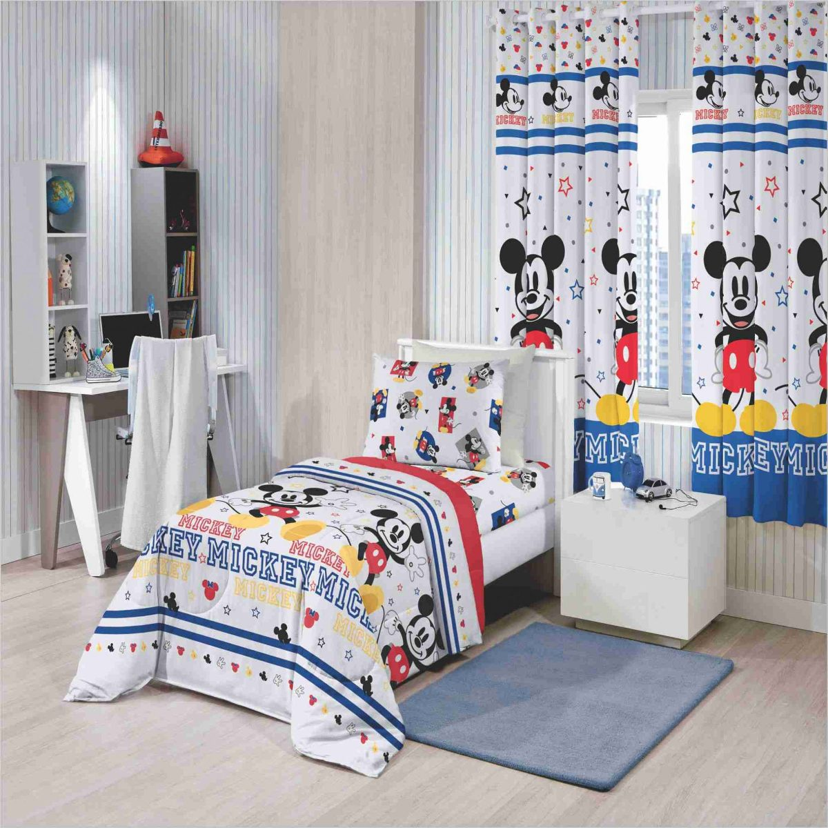 3b883848cb Kit 6 Pç Edredom+ Jogo Cama+ Cortina+toalha Infantil Mickey - R  314 ...