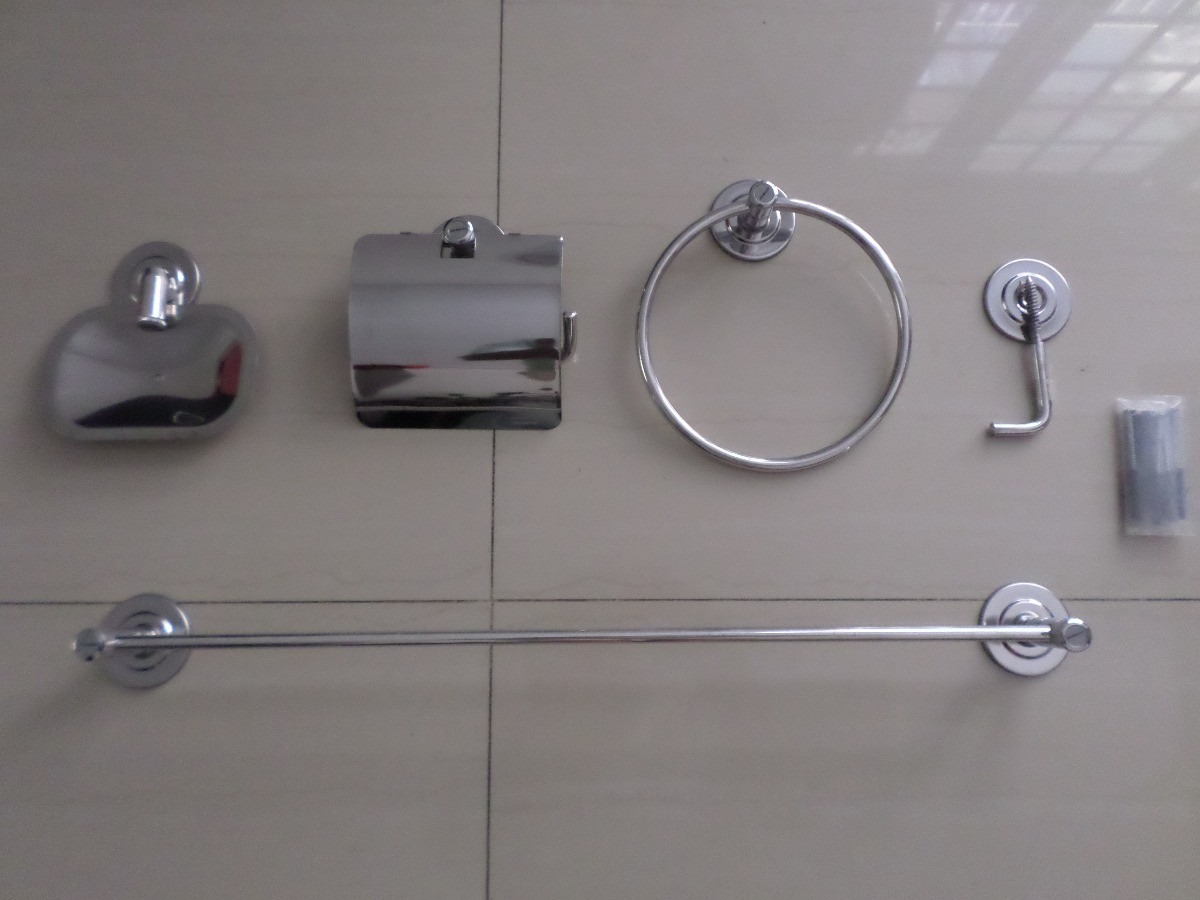 Kit Acessorios Banheiro Deca : Kit p?s luxo acessorios p banheiro a?o inox frete