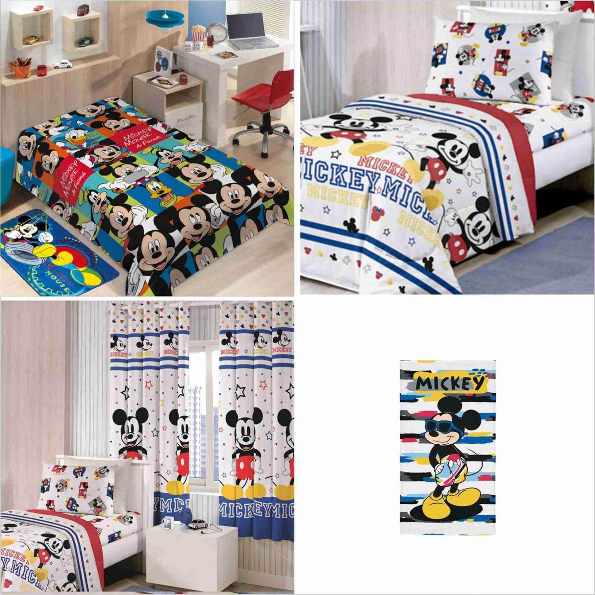 3a314e1e05 kit 6 pçs manta+ jogo cama+cortina+toalha mickey play disney. Carregando  zoom.