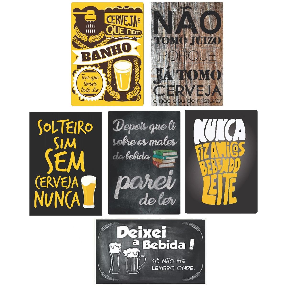 Kit 6 Placas Decorativas Bebidas Frases Cerveja