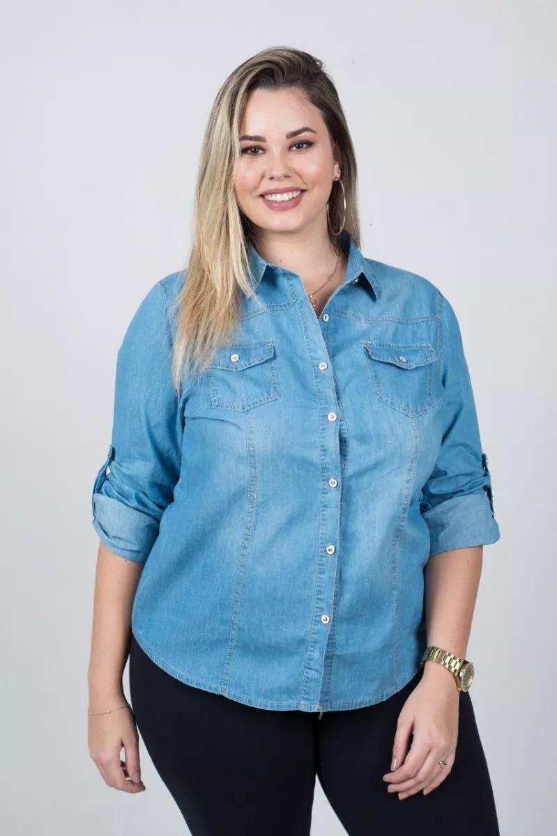 b59770e681f3 kit 6 plus size camisa jeans feminina g1 g2 g3 g4 importa. Carregando zoom.
