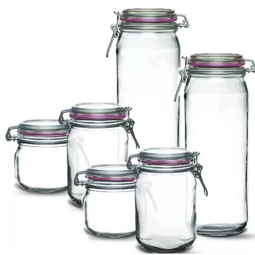 kit 6 potes herméticos de vidro resistente c/ tampa + brinde