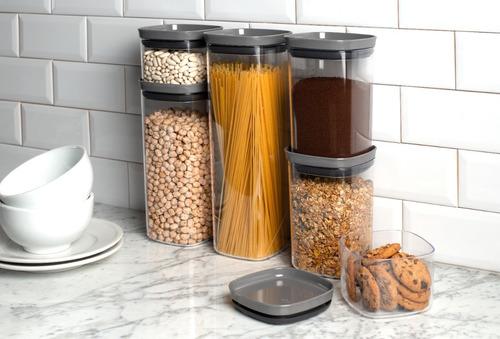 kit 6 potes herméticos porta alimentos mantimentos com tampa
