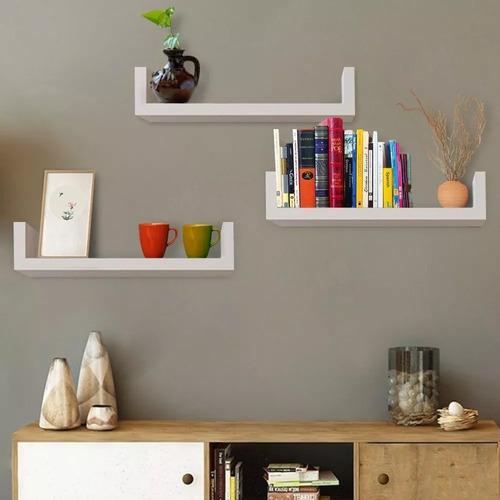 kit 6 prateleiras u mdf 70x20cm branco nicho livros revista.