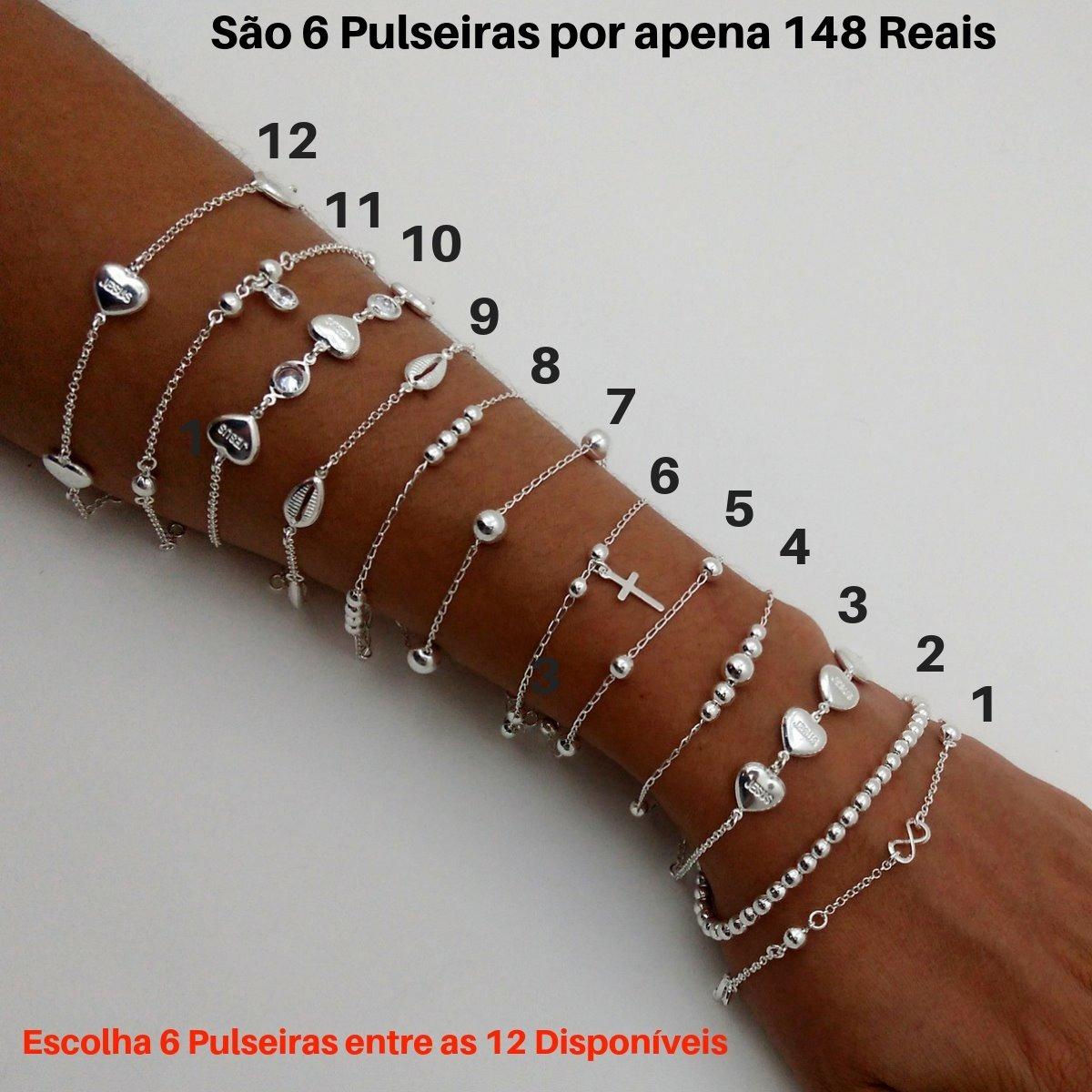 2cdc81791 Kit 6 Pulseiras Feminina Prata 925 Bolinhas Coração Infinito - R ...
