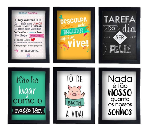 kit 6 quadros decorativos frases com moldura retro vintage